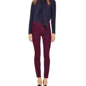 NWT Tory Burch 28 high rise red agate skinny jeans